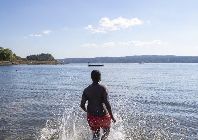 Bading på Langøyene