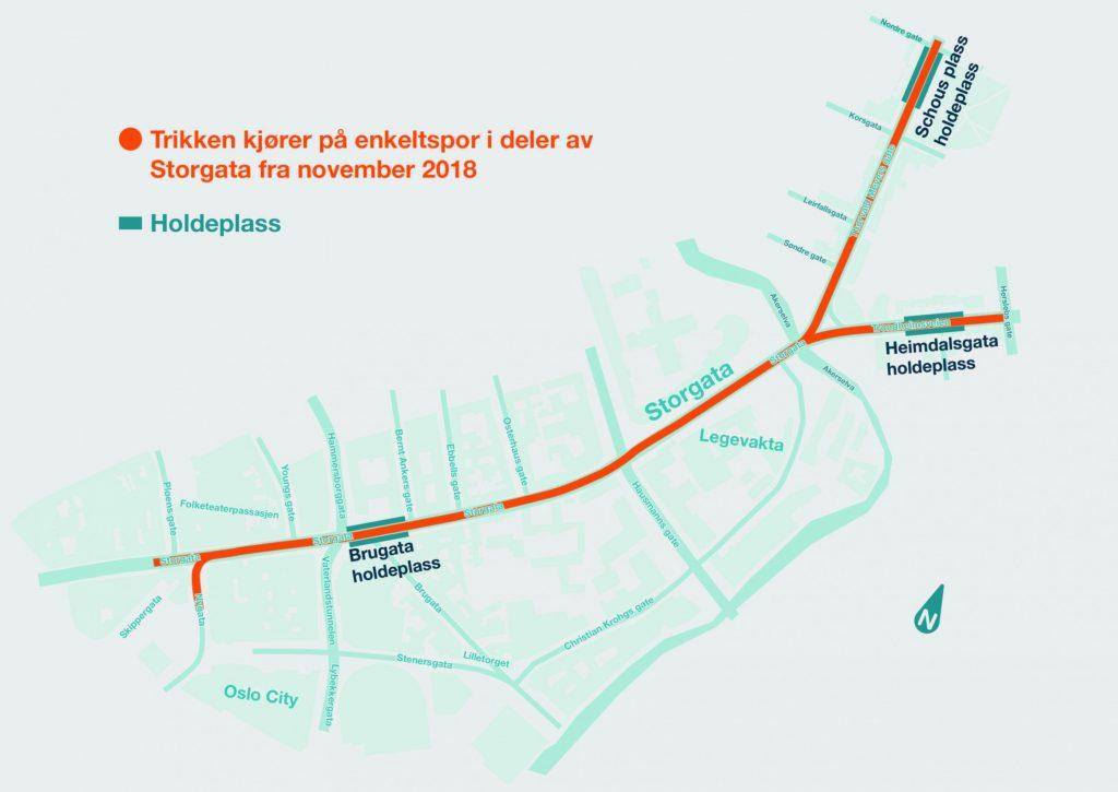 Kartet viser trikkestoppene fram til det midlertidige sporet står klart til sommeren.